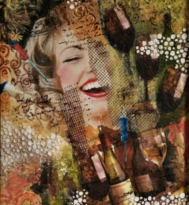 """Joie du Vin"", Framed, Collage and Mixed Media on Canvas, 16"" x 20"" - SOLD"