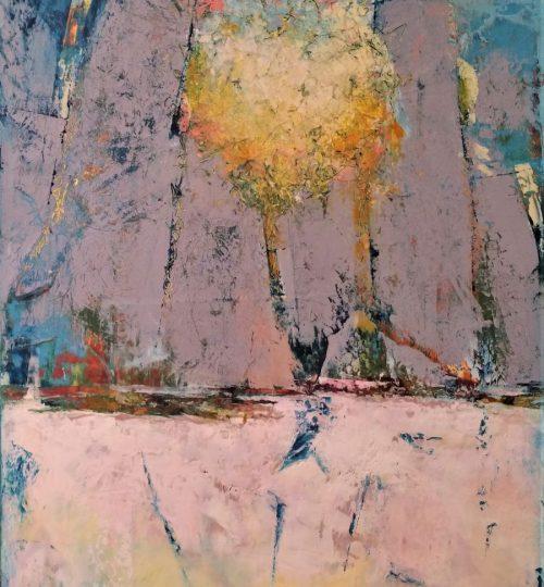 """Monoliths - Daybreak"", Oil & Cold Wax on Board, 17"" x 27.75"" - SOLD"