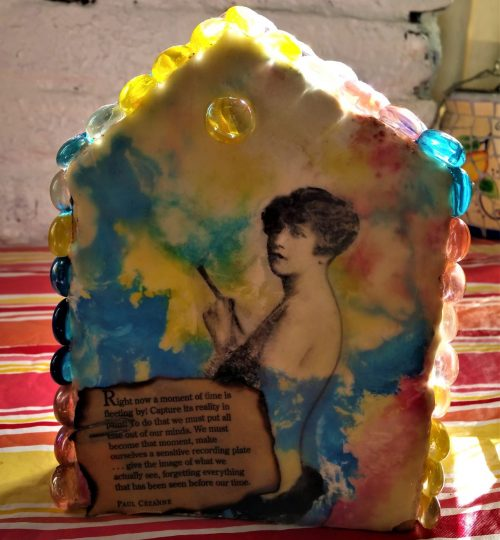 """She Paints"", Encaustic, Photo Transfer, Glass Stones, , Acrylics, and Mixed Media, on 2"" x 6"" Lumber, 5.5""w x 1.5""d x 6.5""t - $50 +sh"